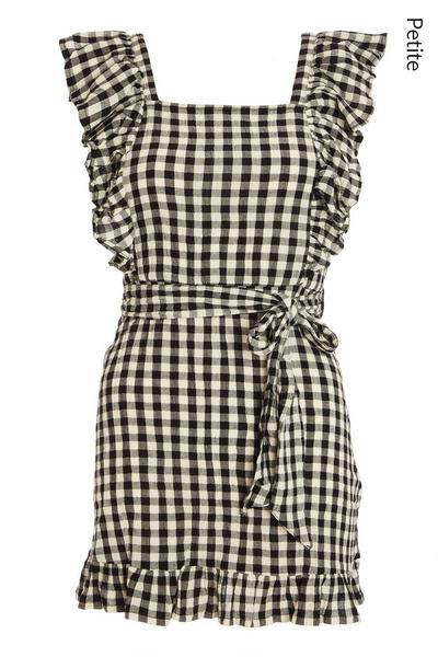 Petite Black Check Frill Dress
